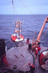 Deploying an oceanographic buoy off the NOAA Ship RONALD H Photo