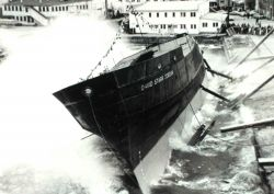 Launching of the DAVID STARR JORDAN at Christy Shipyard. Photo