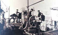 Sigsbee sounding machine in operation on the Coast and Geodetic Survey Ship BACHE during the oceanographic cruise of 1914 Photo