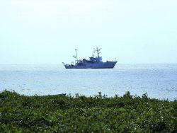 NOAA Ship McARTHUR anchored off Isla Gorgona during STAR 2000 project. Photo