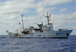 The NOAA Ship McARTHUR after a long four-month deployment in the Eastern Tropical Pacific Ocean. Photo