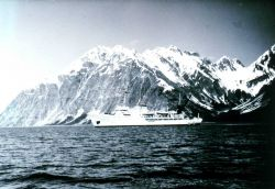 Coast and Geodetic Survey Ship FAIRWEATHER MSS220 at Glacier Bay, Alaska, with Fairweather Range in the background. Photo