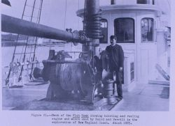 Deck of the FISH HAWK showing hoisting and reeling engine and winch used by Spencer Fullerton Baird and Professor Verrill in the exploration of the Ne Photo