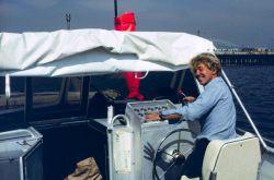 Coxswain of Jensen survey launch off of NOAA Ship FAIRWEATHER. Photo