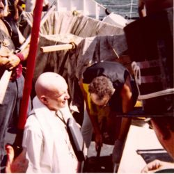 Executive officer Hubert Keith foiled the royal barber during equator crossing ceremonies on the ESSA Ship DISCOVERER. Photo