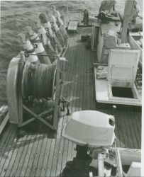 After deck of either HILGARD or WAINWRIGHT rigged for wiredrag operations. Photo