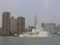 NOAA Ship THOMAS JEFFERSON in East River with Empire State Building in background. Photo