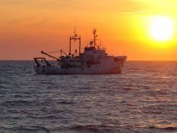 NOAA Ship ALBATROSS IV with trawling into the sunset. Photo