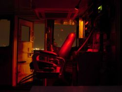 Captains chair and red light on the bridge of the WHITING. Photo