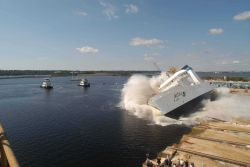 NOAA Ship OSCAR DYSON being launched at VT Halter Marine, Inc., shipyard. Photo