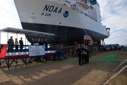 NOAA Ship PISCES during launch ceremony at VT Halter Marine, Inc., shipyard Photo