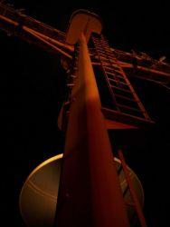 Mast of the NOAA SHIP DAVID STARR JORDAN at night. Photo