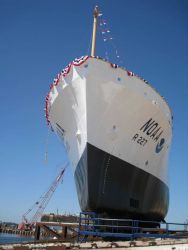 The bow of the NOAA Ship BELL SHIMADA just prior to launching. Photo