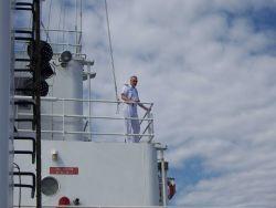 Captain Ray Slagle conning the NOAA Ship THOMAS JEFFERSON while coming alongside. Photo