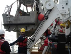 Getting ready to launch a survey launch on the NOAA Ship THOMAS JEFFERSON. Photo