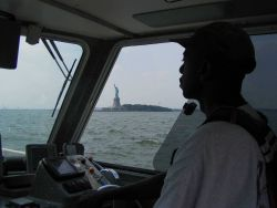 Survey launch off NOAA Ship THOMAS JEFFERSON underway off Statue of Liberty. Photo