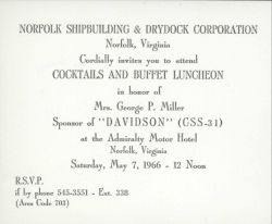 Invitation to pre-launch social activities following launch of ESSA Ship DAVIDSON on May 7, 1966. Photo