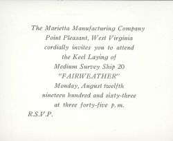 Invitation to keel laying of Coast and Geodetic Survey Ship FAIRWEATHER on August 12, 1963. Photo
