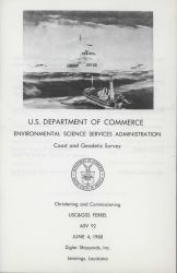 Invitation to christening and commissioning ceremony for USC&GS Ship FERREL on June 4, 1968. Photo