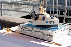 Ceremonial cake for commissioning of NOAA Ship BELL SHIMADA. Photo