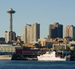 NOAA Ship BELL SHIMADA on Seattle waterfront prior to commissioning ceremony. Photo