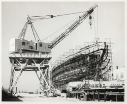 Coast and Geodetic Survey Ship SURVEYOR under construction at National Steel and Shipbuilding shipyard. Photo