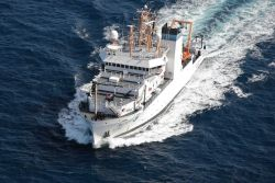 Aerial view of NOAA Ship PISCES taken from NOAA Twin Otter aircraft Photo