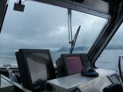 A combination of spray and rain partially obstructing vision while working in the Pavlof Islands. Photo