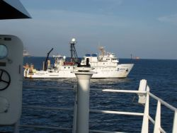 A view looking to the starboard side of the NOAA Ship GORDON GUNTER while conducting operations at the Deepwater Horizon disaster site. Photo