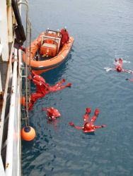 Survival suit drill on the NOAA Ship KA'IMIMOANA (R333) Photo