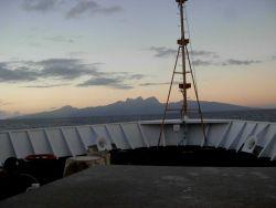 The NOAA Ship KA'IMIMOANA (R333) approaching Tahiti. Photo