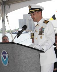 Captain Gerd Glang, Director of the Office of Coast Survey, speaks at the commissioning ceremony of the NOAA Ship FERDINAND R Photo