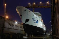 NOAA Ship RAINIER in drydock at Todd Pacific Shipyards. Photo