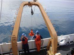 Bottom sampling operations on the NOAA Ship RAINIER. Photo