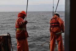 Bottom sampling operations on the NOAA Ship MILLER FREEMAN. Photo