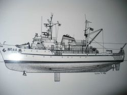 Line drawing of NOAA Ship MILLER FREEMAN by Charles R Photo