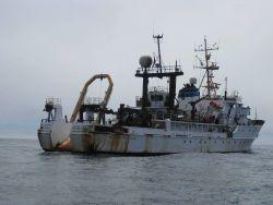 Starboard quarter view of NOAA Ship MILLER FREEMAN. Photo