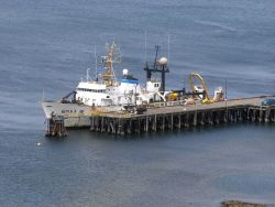 NOAA Ship MILLER FREEMAN at pier tied up port side to. Photo