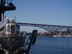 Looking aft entering Lake Union on approach to Pacific Marine Center. Photo