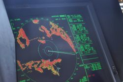 Radar display of southern reaches of Johnstone Strait, just a little north of Campbell River and headed towards Seattle. Photo
