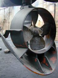 Omni-directional bow thruster on MILLER FREEMAN. Photo