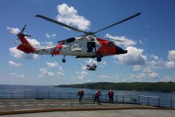 Helicopter drills in cooperation with the United States Coast Guard off the Maine Maritime Academy Training Vessel STATE OF MAINE. Photo