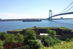 The containership SEALAND COMMITMENT entering New York Harbor. Photo