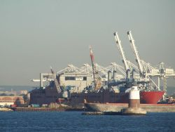 Large cargo ship at dock. Photo