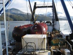 Deck cargo on the SS Coastal Nomad while transiting the Inside Passage on the way to Dutch Harbor. Photo