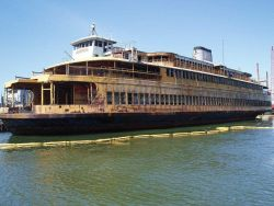 A deteriorating New York ferry boat. Photo