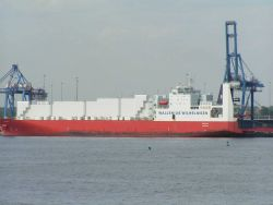 The TAPIOLA, a Finnish car carrier at the dock in Baltimore. Photo
