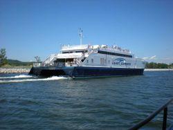 Catamaran ferry LAKE EXPRESS entering Muskegon. Photo