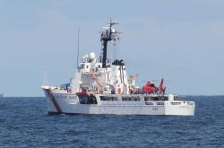 United States Coast Guard Cutter DECISIVE (WMEC-629) , home-ported in Pascagoula, on-site at Deepwater Horizon disaster site. Photo