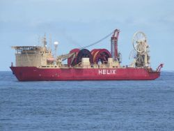The Helix EXPRESS work vessel on-site at the Deepwater Horizon disaster well containment efforts. Photo